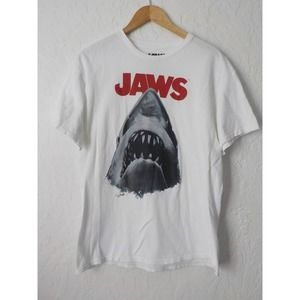 JAWS T-shirt White Red Graphic Print L